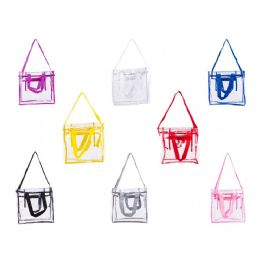 "24 Units of 12"" Pvc Clear Tote Bag In Assorted Colors - Tote Bags & Slings"