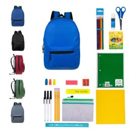 "12 Units of 19"" Bulk Backpacks With 31 Piece School Supply Kits - School Supply Kits"
