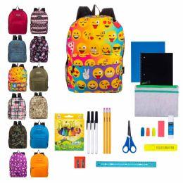 "12 Units of 17"" Backpacks Bulk With 31 Piece School Supply Kits - School Supply Kits"