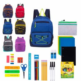"""24 Units of 17"""" Assorted Bulk Backpacks With 44 Piece School Supply Kits - School Supply Kits"""