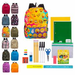 """24 Units of 17"""" Bulk Backpacks In Assorted Prints And Colors With 35 Piece Kids School Supply Kits - School Supply Kits"""