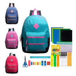 """12 Units of 17"""" Backpacks With 43 Piece School Supply Kits Assorted Girls Colors - School Supply Kits"""