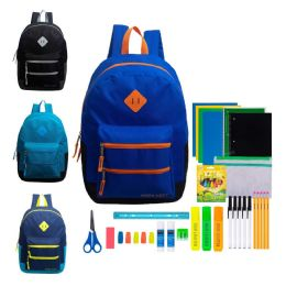 """12 Units of 17"""" Backpacks With 43 Piece School Supply Kits - School Supply Kits"""