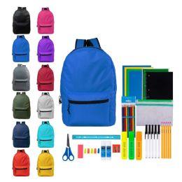 "12 Units of 17"" Bulk Backpacks With 41 Piece School Supply Kits - School Supply Kits"