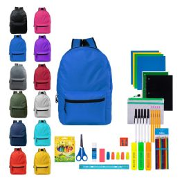 """12 Units of 17"""" Backpacks With 52 Piece School Supply Kits - School Supply Kits"""