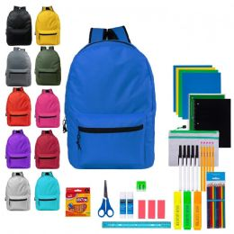 """12 Units of 19"""" Backpacks With 48 Piece School Supply Kits - School Supply Kits"""
