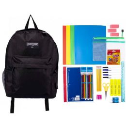 """4 Units of 19"""" Black Backpack With 48 Piece School Supply Kit - School Supply Kits"""
