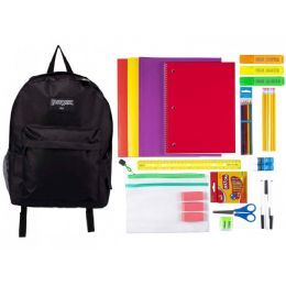 """4 Units of 17"""" Basic Black Backpack With 39 Piece Kids School Supply Kit - School Supply Kits"""