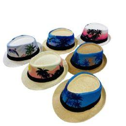 24 Units of Printed Tropical Palm Tree Fedora Hat [small Brim] - Fedoras, Driver Caps & Visor