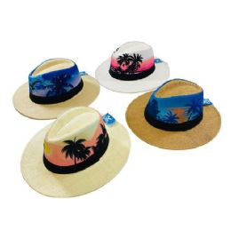 24 Units of Printed Tropical Palm Tree Fedora Hat [large Brim] - Fedoras, Driver Caps & Visor