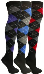 24 Units of Yacht & Smith Womens Over The Knee Referee Thigh High Boot Socks Argyle Print - Womens Over the knee sock