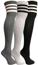24 Units of Yacht & Smith Womens Over The Knee Referee Thigh High Boot Socks - Womens Over the knee sock