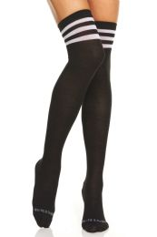 24 Units of Yacht & Smith Womens Over The Knee Referee Thigh High Boot Socks Black With White Stripes - Womens Over the knee sock