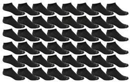 48 Units of Yacht & Smith Mens Thin Low Cut Ankle No Show Socks, Comfortable Lightweight Solid Black - Mens Ankle Sock