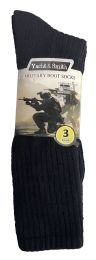 36 Units of Yacht & Smith Men's Army Socks, Military Grade Socks Size 10-13 Solid Black - Mens Crew Socks