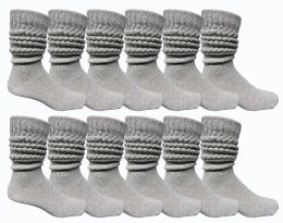 24 Units of Yacht & Smith Mens Heavy Cotton Slouch Socks, Solid Heather Gray - Mens Crew Socks