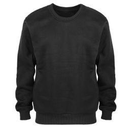 24 Units of Leehanton Mens Basic Pullover Long Sleeve Sweatshirt In Black - Mens Sweat Shirt