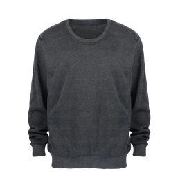 24 Units of Leehanton Mens Basic Pullover Long Sleeve Sweatshirt Dark Grey - Mens Sweat Shirt