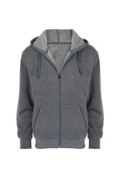 24 Units of Mens Long Sleeve Light Weight Zip Up Hoody Sweater In Dark Gey - Mens Sweat Shirt