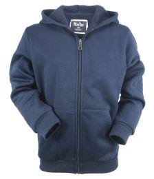 12 Units of Boys Long Sleeve Light Weight Fleece Zip Up Hoodie In Dark Grey - Boys Sweaters