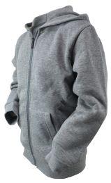 12 Units of Boys Long Sleeve Light Weight Fleece Zip Up Hoodie In Light Grey - Boys Sweaters