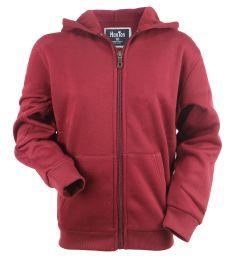 12 Units of Boys Long Sleeve Light Weight Fleece Zip Up Hoodie In Wine - Boys Sweaters