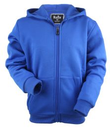 12 Units of Boys Long Sleeve Light Weight Fleece Zip Up Hoodie In Royal Blue - Boys Sweaters