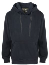 24 Units of Mens Solid Pullover Fleece Lined Hoodie Sweater In Black - Mens Sweat Shirt