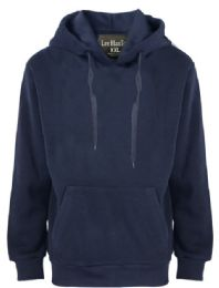 24 Units of Mens Solid Pullover Fleece Lined Hoodie Sweater In Navy - Mens Sweat Shirt