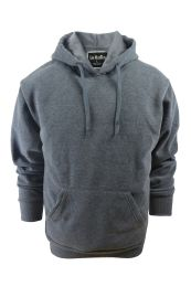 24 Units of Mens Solid Pullover Fleece Lined Hoodie Sweater In Dark Grey - Mens Sweat Shirt
