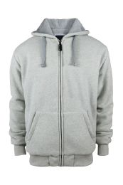 12 Units of Mens Solid Sherpa Line Hoodie In Light Grey - Mens Sweat Shirt