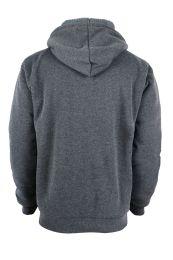 12 Units of Mens Solid Sherpa Line Hoodie In Dark Grey - Mens Sweat Shirt