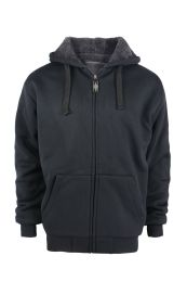 12 Units of Mens Solid Sherpa Line Hoodie In Black - Mens Sweat Shirt