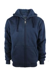 12 Units of Mens Solid Sherpa Line Hoodie In Navy - Mens Sweat Shirt