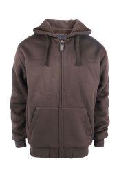 12 Units of Mens Solid Sherpa Line Hoodie In Brown - Mens Sweat Shirt