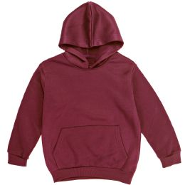 12 Units of Boys Long Sleeve Sherpa Lined Hoody Sweater In Wine Color - Boys Sweaters