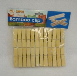 24 Units of Bamboo Clothespin Set - Clothes Pins