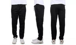 24 Units of Mens Classic Open Bottom Fleece Sweatpants Assorted Sizes , Black - Mens Sweatpants