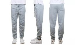 24 Units of Mens Classic Open Bottom Fleece Sweatpants Assorted Sizes , Heather Gray - Mens Sweatpants