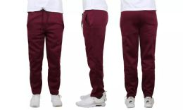 24 Units of Mens Classic Open Bottom Fleece Sweatpants Assorted Sizes , Burgundy - Mens Sweatpants