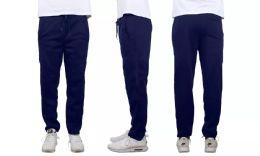 24 Units of Mens Classic Open Bottom Fleece Sweatpants Assorted Sizes , Navy - Mens Sweatpants