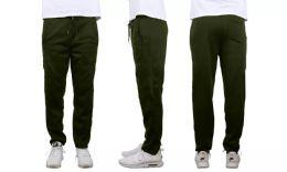 24 Units of Mens Classic Open Bottom Fleece Sweatpants Assorted Sizes , Olive - Mens Sweatpants