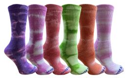 36 Units of Yacht & Smith Womens Ring Spun Cotton Tie Dye Crew Socks Size 9-11 Super Soft Arch Support - Womens Crew Sock