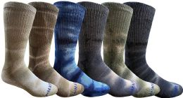 6 Units of 6 Pairs of Womens Tie Dye Cotton Colorful Soft Crew Socks, Bright Colorful Boot Sock, Bulk - Mens Crew Socks