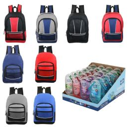 """24 Units of Kids Sport Backpacks in 8 Assorted Styles with - 1.8 oz Clip On Sanitizer - Backpacks 17"""""""