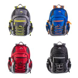 """24 Units of 19"""" Multi Compartment Laptop Bulk Backpacks with Bungee Face in 4 Assorted Colors - Backpacks 18"""" or Larger"""