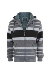 12 Units of Mens Stripe Design Fleece Lined Zip Up Hoodie Dark Grey - Mens Sweat Shirt