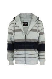 12 Units of Mens Stripe Design Fleece Lined Zip Up Hoodie Light Grey - Mens Sweat Shirt