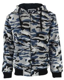 12 Units of Mens Camoflage Sherpa Lined Zip Up Hoodie Sweater In Camo Blue - Mens Sweat Shirt