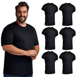 6 Units of Mens Plus Size Cotton Crew Neck Short Sleeve T-Shirts Black, Size 5X - Mens T-Shirts